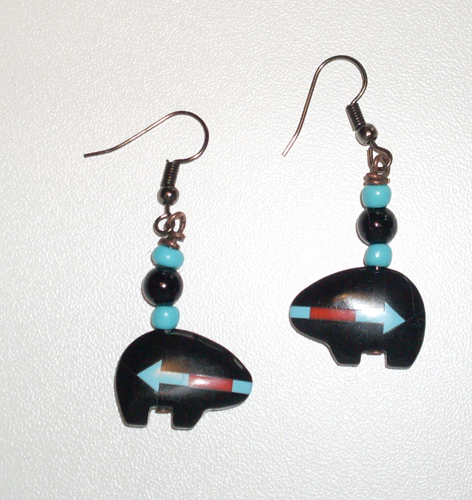 earrings made with Zuni fetish bear          beads