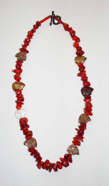 necklace with red beads and stone bears
