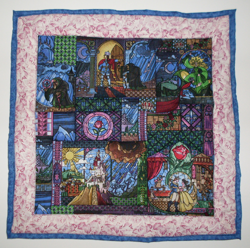 small quilt with Beauty and the Beast images