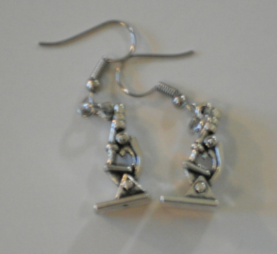 earrings with microscope charms