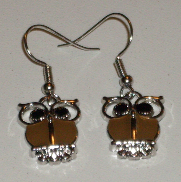 earrings with owls in brown and silver