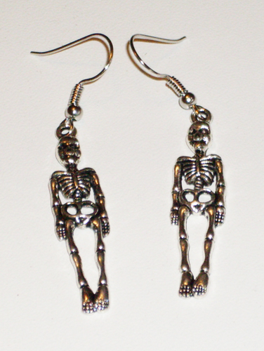 silvery skeletons on ear wires