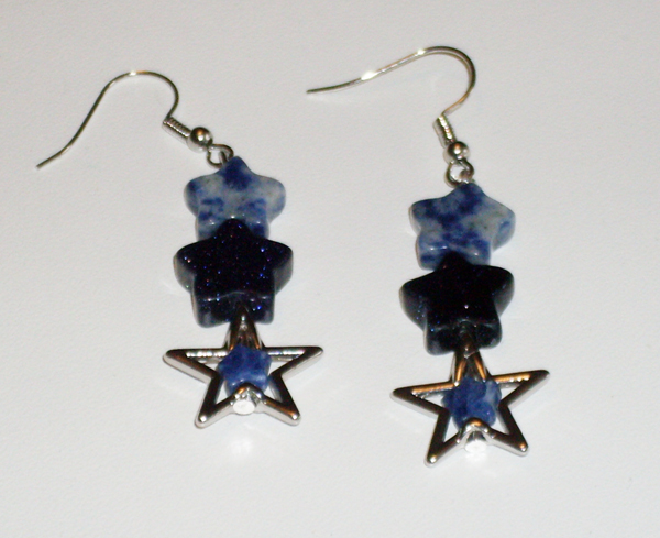 earrings with blue and silvery stars